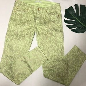 7 for All Mankind Lime Green & Gold Metallic Jeans